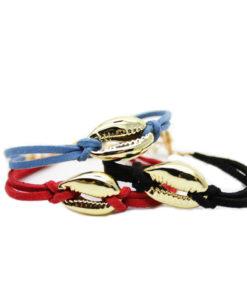 Bracelet été 2017 coquillage cuir noirnoir