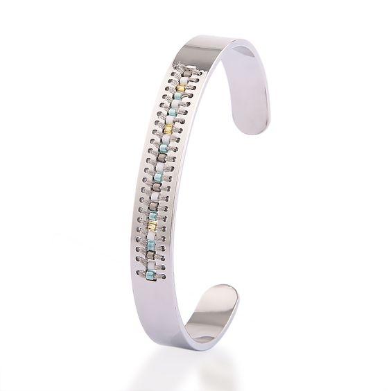 Bracelet jonc argent perles gris (1)