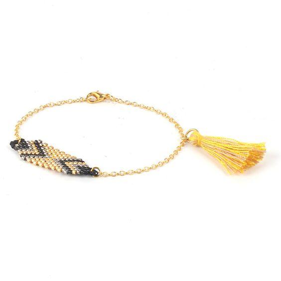 Bracelet perles Miyuki Noir et or