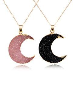 Cadeau anniversaire femme- collier Lune noir