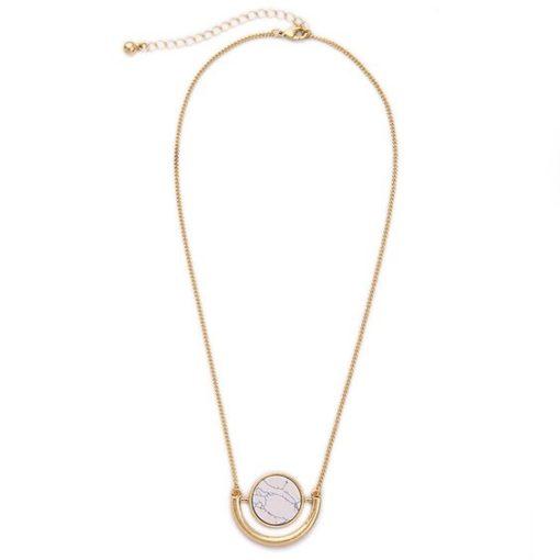 Collier Marbre blanc -Idée cadeau Femme