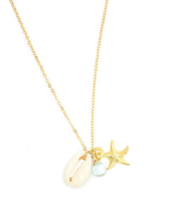 Collier coquillage pierre aigue marine or