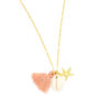 Collier coquillage pompon rose