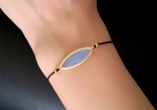 Idée cadeau femme fille -Bracelet pierre bleu