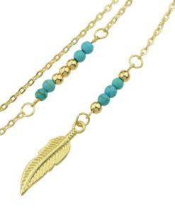 Sautoir plume or- Idée cadeau femme