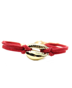 Bracelet coquillage cuir cordon rouge plaque or