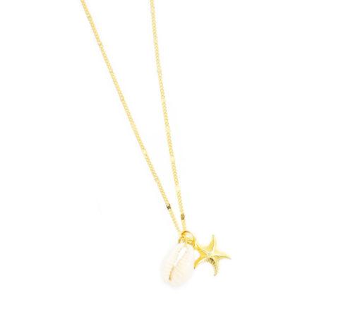 collier étoile de mer et coquillage . Bijoux tendance été 2018