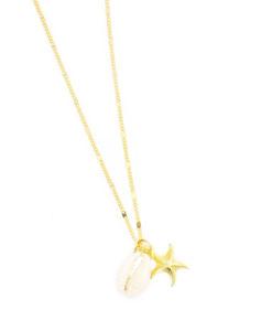collier étoile de mer et coquillage . Bijoux tendance été 2017