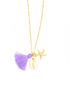 collier coquillage pompon étoile de mer