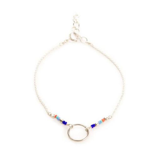 Bracelet cercle perles multicolore argent