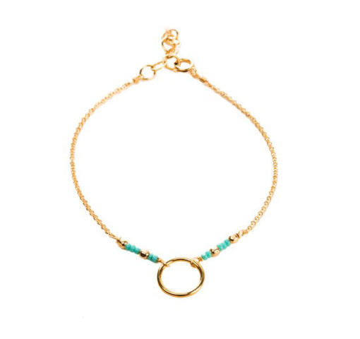 Bracelet cercle perles turquoise