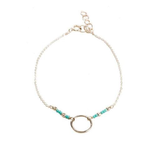 Bracelet cercle perles turquoise argent