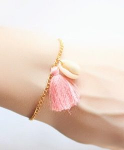 Bracelet coquillage pompon rose