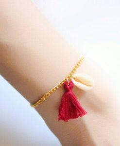 Bracelet coquillage pompon tendance 2018