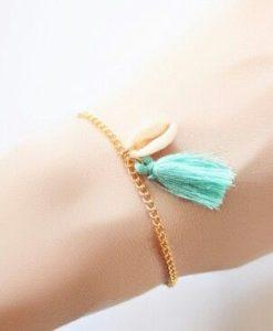 Bracelet coquillage pompon turquoise