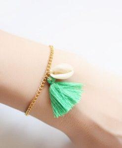 Bracelet coquillage pompon vert