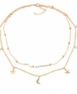 Idée cadeau femme -Collier lune étoile