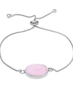 Bracelet pierre rose argent