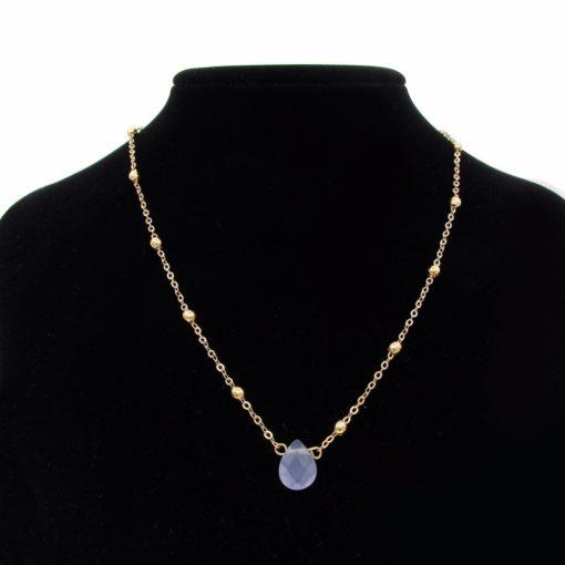 Collier fantaisie pierre bleue