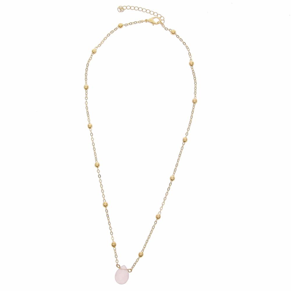 b525aedb11b Collier fantaisie pierre rose - BIJOUX FANTAISIE