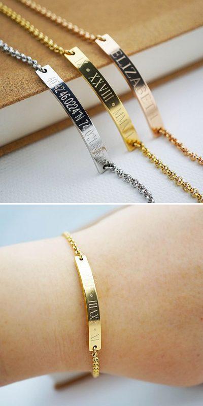 bracelet argent gravé