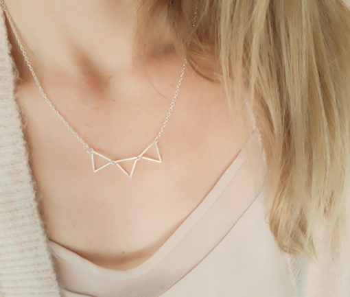 Collier 3 triangles argent