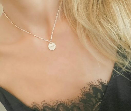 collier medaille rose gold