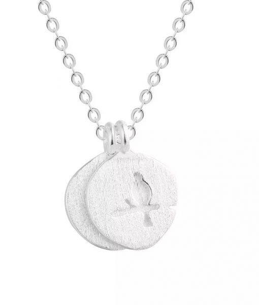 Collier medaille argent hirondelle (2)