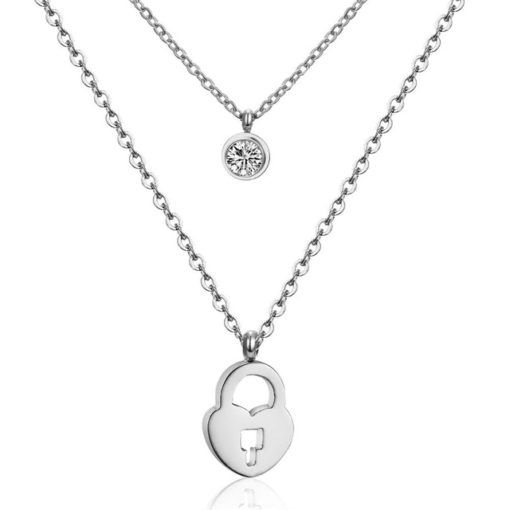 Collier multirang coeur argent
