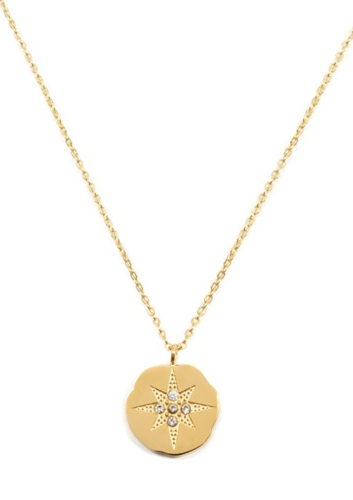 Collier medaille etoile or