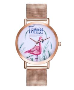Montre originale - flamant rose