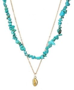 Collier multirang turquoise coquillage