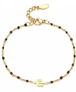 Bracelet chaine de pierres en plaque or