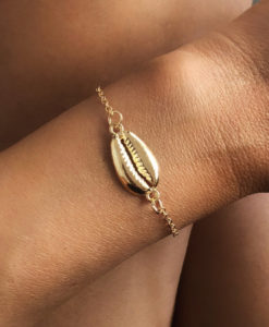 Bracelet fin dore coquillage