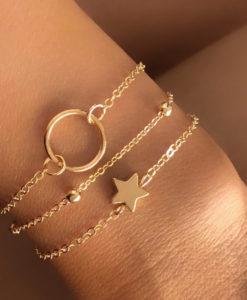 Bracelet trois rangs dore