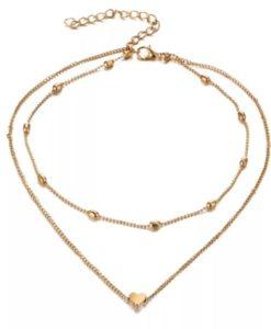 Collier dore double-rang coeur