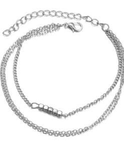 Bracelet minimaliste trois rangs argente