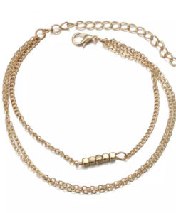 Bracelet minimaliste trois rangs dore