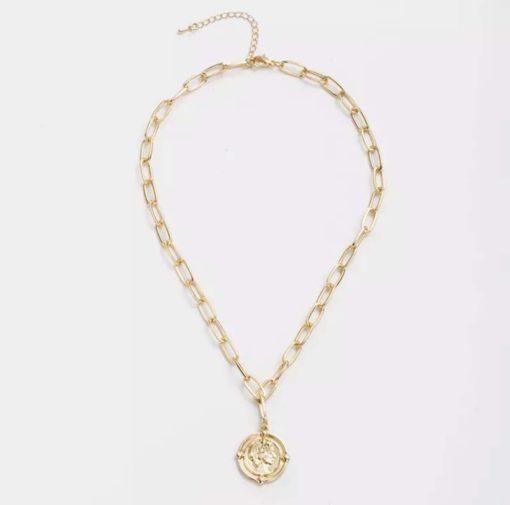 Collier cadeau femme- medaille antique