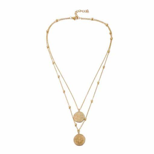 collier cadeau femme- double medaille