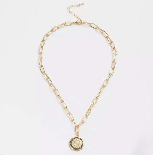 collier cadeau femme- medaille noire