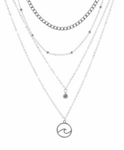 Collier chaine satellite vague argent
