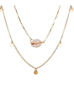 Collier multi rangs coquillage en plaque or.