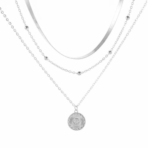 Collier multirang argente