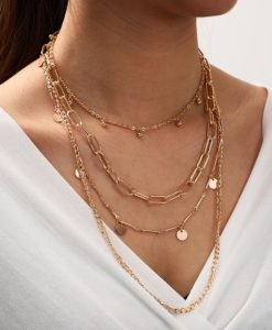 Collier tendance en plaque or