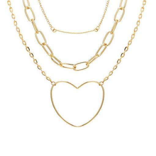 collier multirangs en plaque or pendentif coeur.