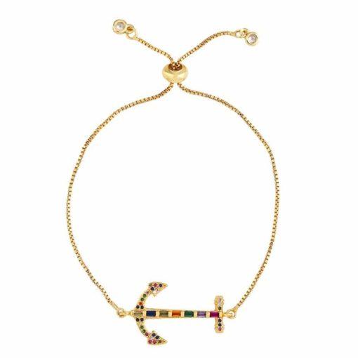 Bracelet ancre plaque or