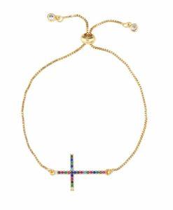 Bracelet croix plaque or