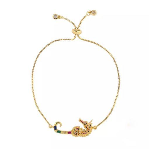 Bracelet hippocampe plaqué or