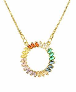Collier tendance 2021 -pendentif strass multicolore
